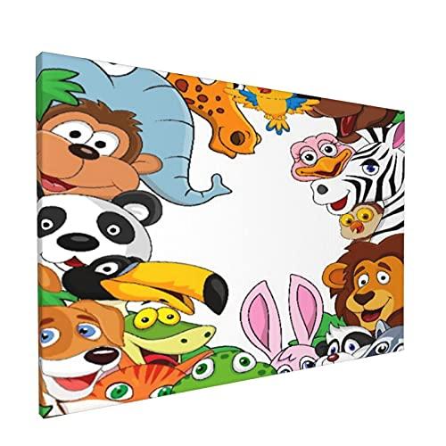 Sin Marco Mural Impresiones en Lienzo,Dibujos Animados de Animales,Oficina en Casa Decoración Mural Pintura al óleo Arte de Moda,18' x 12'