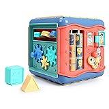 Cubo de madera para actividades para bebés 6 en 1 Laberinto de cuentas multiusos Forma de madera Educativa Clasificador de colores Actividades para bebés Centros de juego Para cuentas de conteo de ába