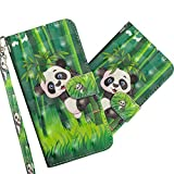 COTDINFOR pour LG K30 2019 Custodia 3D Effect Painted PU in Pelle con Wallet Card Holder Magnetico Ultrasottile Antiurto Flip Custodia per LG K30 2019 Climbing Bamboo Panda YX