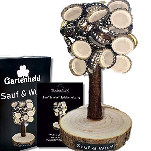Gartenheld Kronenbaum Sauf&Wurf mit Spielanleitung - Magnetbaum zum Kronkorken sammeln Deko-Objekt Holz Männer Geschenk Geburtstag- Partyspiel Trinkspiel Bier