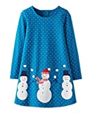 Youlebao Girls Cotton Long Sleeve Casual Cartoon Appliques Striped Jersey Dresses (3T, Blue)