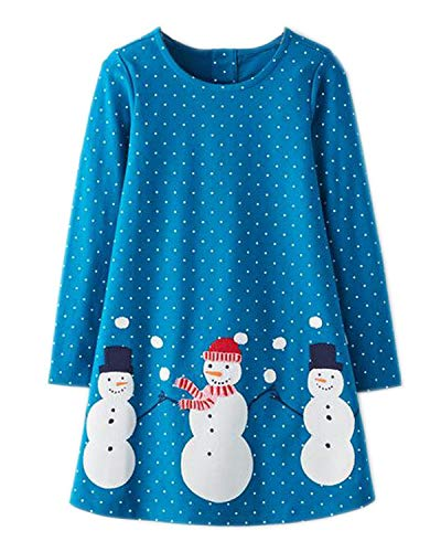 Beilei Creations Mädchen Kleider Baumwolle Karikatur Stickerei Casual Jersey kleider Gr.85-130 (5Jahre/110cm, Blau)