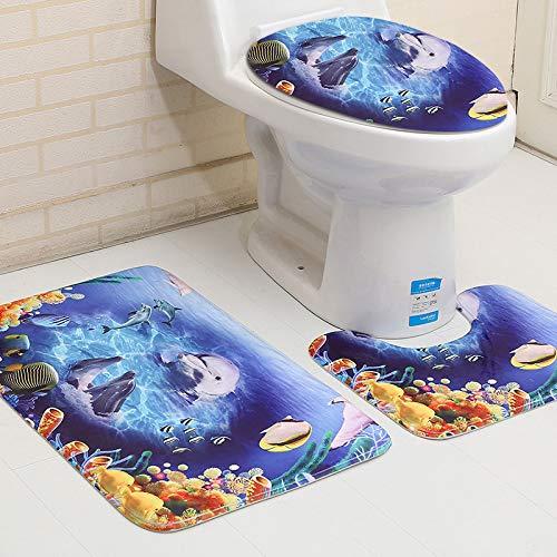 YULE 3 piezas cubierta de inodoro antideslizante alfombra de baño, asiento de inodoro, accesorios para decoración de baño (color: 02, especificación: 500 mm x 800 mm)