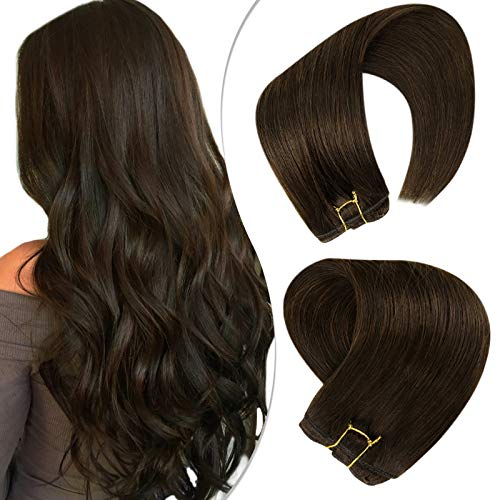 Hetto Natural Bundles Hair Wefts Human Hair Sew in Hair Extension 100g 20 Inch Brown Remy Hair Weave Double Weft Remy Straight Hair Extensions