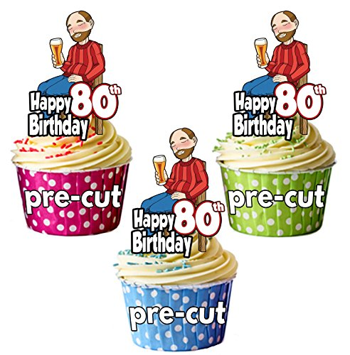 PRECUT- Bebedero de cerveza para hombre de 80 cumpleaños, decoración comestible para cupcakes (paquete de 12)
