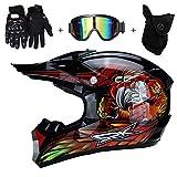 AMITD Casco de Motocross, Pro Casco Cross Adulto con Gafas/Mascarilla/Guantes, Casco Descenso Hombre MX Enduro MTB Quad Off Road ATV Scooter, Forro Extraíble, S