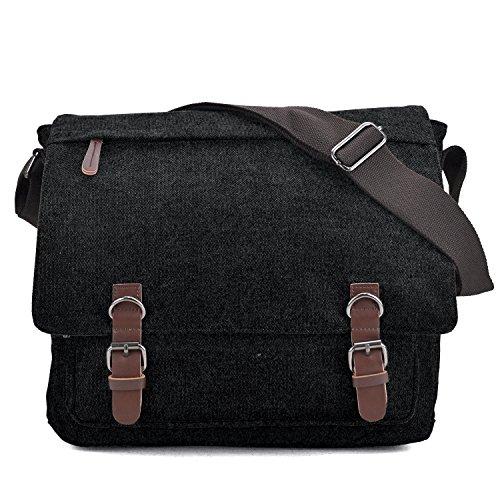 Large Vintage Canvas Messenger Shoulder Bag Crossbody Bookbag Business Bag for 15inch Laptop Black