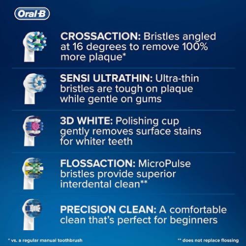 Oral-B CrossAction - Set de 4 recambios para cepillo de dientes eléctrico recargable (cabezal redondeado con diseño de inspiración profesional para limpiar diente por diente), azul