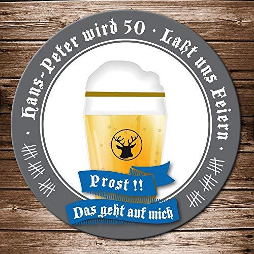 Echte Bierdeckel Einladung Geburtstag Motiv Bierglas Prost Bieruntersetzer Karte originelle individuelle Einladungskarte (100)