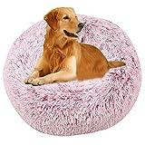 Vejaoo Cama Gato Suave Cama Perro Redonda, Cama calmante para Perros y Gatos XZ002 (Diameter:80cm, Gradient Rose)