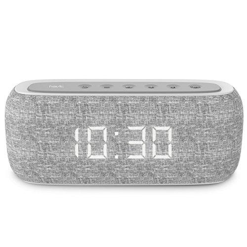 HAVIT Bluetooth Lautsprecher Box mit 10W Dual-Treiber Reinem Bass, 8-12 Stunden Spielzeit, Eingebautes Mikrofon,FM Radio und Digitaler Wecker mit 2 Weckzeiten (Grau)