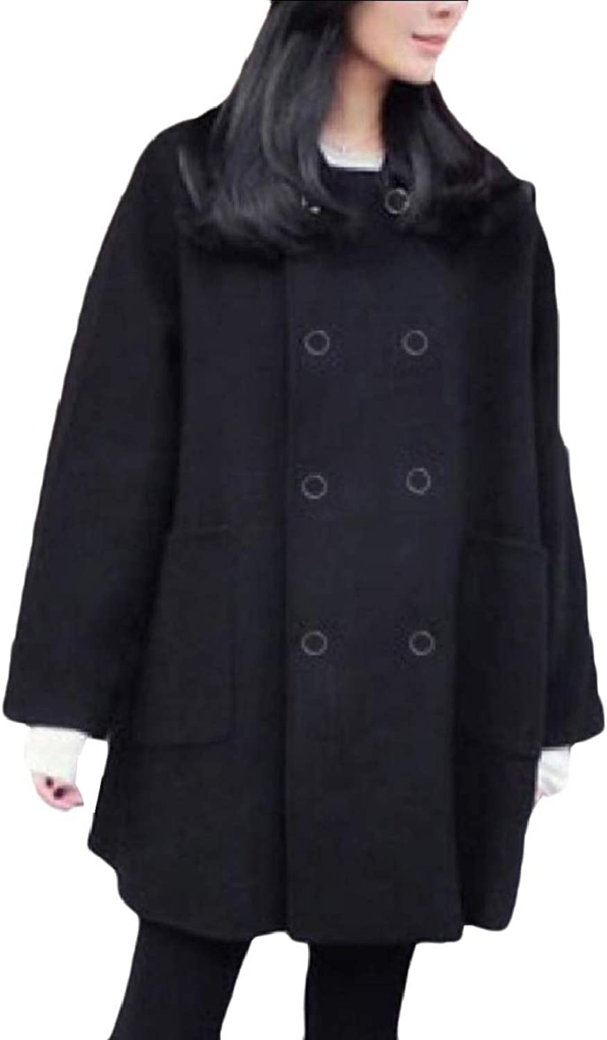 Coolhere Womens Classics Notch Lapel Fleece Curvy Double Button Pea Coat