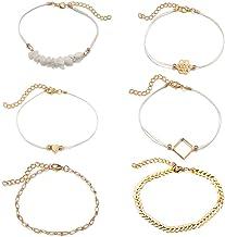 6 Pcs/Set Charm Bracelet Set for Women Simple Link Chain Geometric Hexagon Square Heart Statement Braclets for Women/