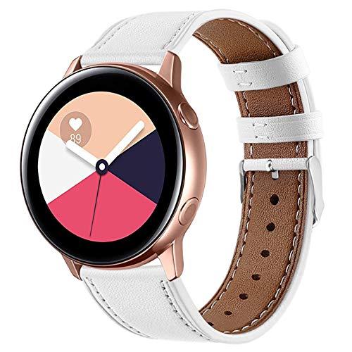 Correa de Cuero Compatible con Samsung Galaxy Watch Active 2/Galaxy Watch 42mm/Huawei Watch GT/GT2 42mm/Honor Magic Watch 2 42mm Banda de Piel Liberación Rápida para Hombre y Mujer-Blanco