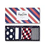 Happy Socks, bunt premium baumwolle Geschenkkarton 4 Paar Socken für Männer & Frauen, Mix Geschenkbox (36-40)