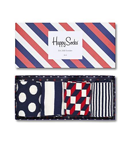 Happy Socks, bunt premium baumwolle Geschenkkarton 4 Paar Socken für Männer und Frauen, Mix Geschenkbox (36-40)