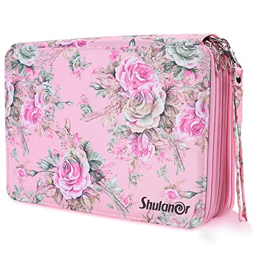 Shulaner 200 Slots Colored Pencil Case with Zipper Closure Large Capacity Oxford Pen Organizer Pink Rose Pencil Holder for Student or Artist