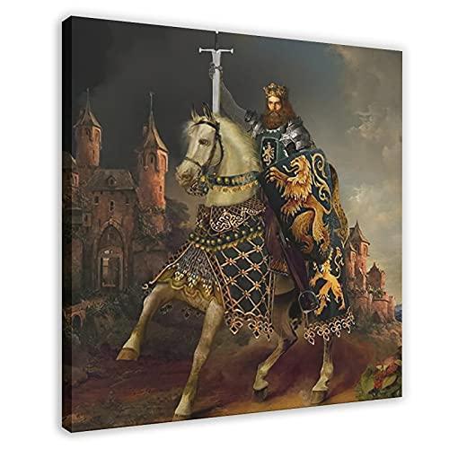 Póster de lienzo de mesa redonda King Arthur, los caballeros de la mesa redonda para decoración de la sala de estar, dormitorio, marco de decoración de 40 x 40 cm