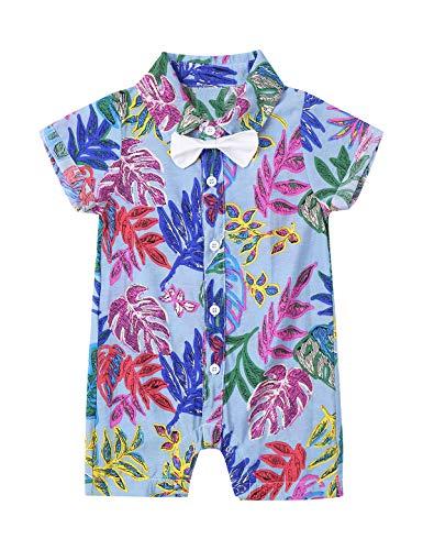 inlzdz Neugeborenen Baby Jungen Strampler Einteiler Jumpsuit Kurzarm Hawaii Hemd Blätter Druck Button Down Freizeithemd Lustig Tropica Aloha Shirts Hellblau 80-86