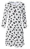 Louis & Louisa Nachthemd Basic Süße Verführung weiß mit schwarzen Blüten Rundhalsausschnitt Lange Ärmel (XL)