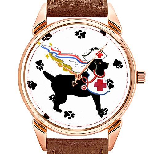 Herrenuhren Mode Quarzuhr Business wasserdicht leuchtende Uhr Männer braun Leder Uhr Gulliver's Angels Therapie Hund Armbanduhr