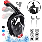 Snorkel Mask, SLB 2.0 Foldable Anti-fog Snorkeling Mask Full Face with Free Breathing Design, 180°Panoramic View Scuba Diving Mask with Detachable Camera Mount for Adults & Kids - 2018 Newest(Black/L)