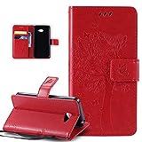 Kompatibel mit LG K5 Hülle,LG K5 Schutzhülle,LG K5 Leder Hülle,Prägung Katze Schmetterlings Floral Blumen PU Lederhülle Flip Hülle Handyhülle Ständer Tasche Wallet Hülle Schutzhülle für LG K5,Rot