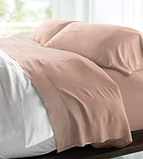 Cariloha Resort Bamboo Sheets 4 Piece Bed Sheet Set - Luxurious Sateen Weave - 100% Viscose from Bamboo Bedding (Queen, Blush)