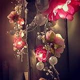 OQAJFQJA Fleur Artificielle 2M 20Led Mariage Guirlande Lumineuse Perle Fleur Décoration Jardin Guirlandes Lumineuses pour Vacances Festival De Noël Éclairage À La Maison Décor