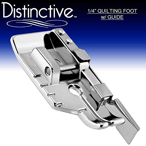 Distinctive 1-4 (Quarter Inch) Quilting Sewing Machine Presser Foot with Edge Guide - Fits All Low Shank Snap-On Singer, Brother, Babylock, Janome, Kenmore, White, Juki, Simplicity, Elna and More!