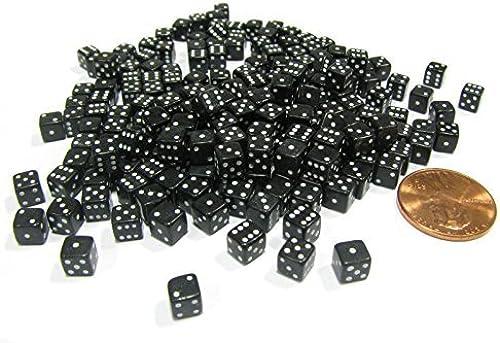 200 5mm .197 Inch Six Sided D6 Die Small Tiny Mini Miniature schwarz Dice by Koplow Games