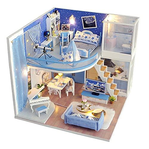 NIKALONG Muebles De Madera Modernos, Mini - Casa De MuñEcas, Casa De MuñEcas DIY, Casa De MuñEcas Hecha A Mano, Modelos Creativos De Sala De Juegos, DíA De La Novia (Dreamstar)