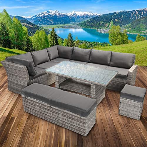 BRAST Poly-Rattan Gartenmöbel Essgruppe Lounge Set Sitzgruppe Outdoor Möbel Garten Garnitur Sofa Holidays Grau Anthrazit - 9