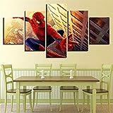 Aehoor Moderna Art 5 Piezas/Set HD Cuadro en Lienzo Impresión Artística Imagen Gráfica Decoracion de Pared Pintura de Pared Corredor Oficina Sala Decorativo Spider-Man 80/60/40x30CM Frame