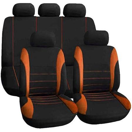Sitzbezüge Leder Universal Autositzbezüge Set Wasserdicht Vordersitze Und Rückbank Komplettset For Auto Zubehör Innenraum Color Orange Auto