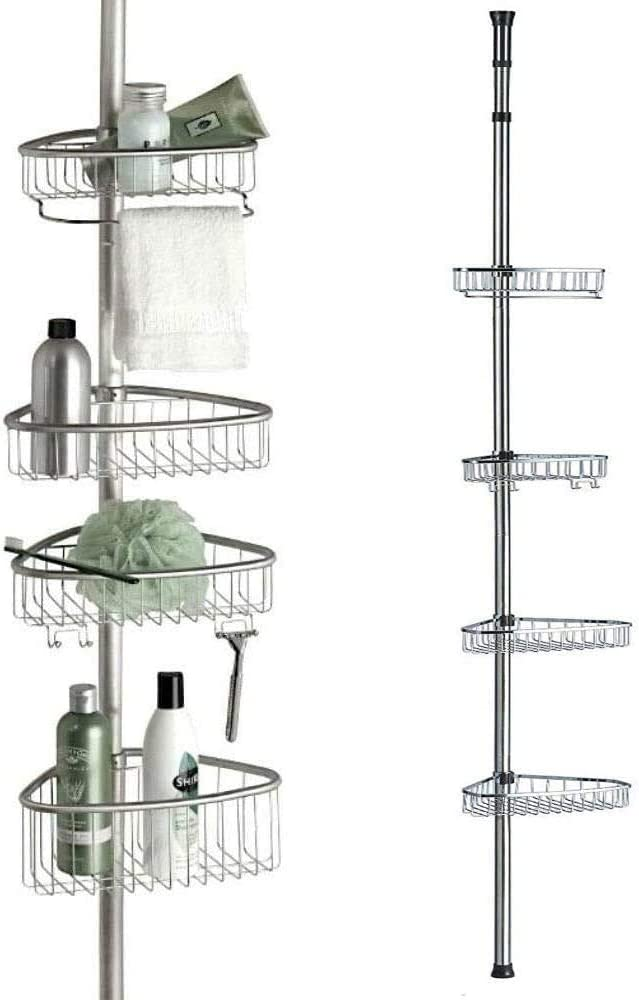 Non Rust Bathroom Telescopic Corner Shelf Storage 4 Tier Shower Caddy Organiser Mattes Silber Amazon Co Uk Kitchen Home