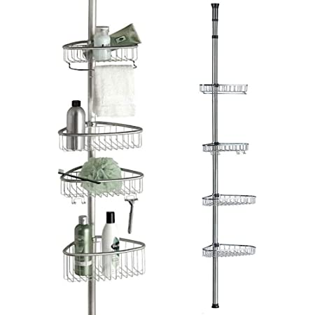 Non Rust Bathroom Telescopic Corner Shelf Storage 4 Tier Shower Caddy Organiser Mattes Silber Amazon Co Uk Kitchen Home