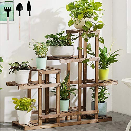 YINUODAY Wooden Plant Stand Indoor&Outdoor, Foldable Flower Pot Holder Display Rack, Bamboo Plant Stand Shelf for Garden Lawn Patio Bathroom Office Living Room Balcony