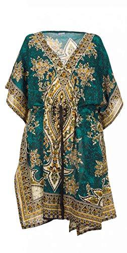 Kaftan Kurzes Orientalisches Tunika-Stil, Afrikanischer Boubou Kleid Sommer Kaftan Djellaba Damen Boheme Tunika Strand Beachwear Oversize Tunika Kaftan Gr. One size, Petrol