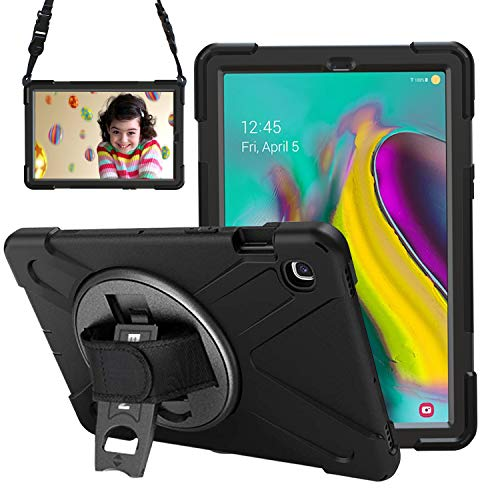 Gerutek Samsung Galaxy Tab S5e T720/T725 10.5 2019 Case, Heavy Duty Shockproof Rugged Tough Case with 360 Rotating Kickstand and Hand/Carry Strap Protective Cover for Tab S5e 10.5 SM T720/T725, Black