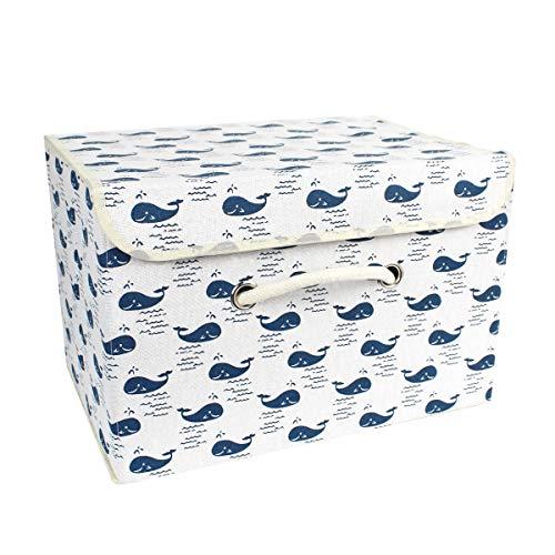 Cesto portaoggetti pieghevole grande capacità con manico cubo, vano portaoggetti in tessuto di cotone con coperchio, organizer per bucato e giocattoli.
