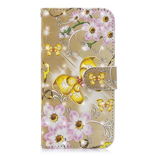 KIOKIOIPO-N Art und Weise 3D Malerei Muster kolorierte Zeichnung Horizontal Flip PU-Leder-Kasten mit Halter & Card Slots & Wallet for iPhone XR (Color : The golden Butterfly)