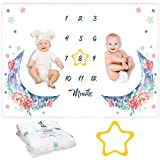 "Kemina Blankets Twin Milestone Blanket Boy and Girl, Premium Soft Fleece Baby Monthly Milestone Blanket, Gender Neutral Baby Month Blanket for Twins - Baby Twin Baby Shower, Star Included, 60""x40"""