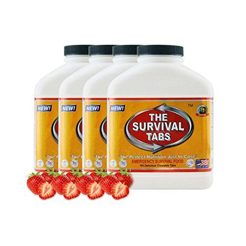 Emergency Survival Food 4 bottles Strawberry Flavored 720 tabs
