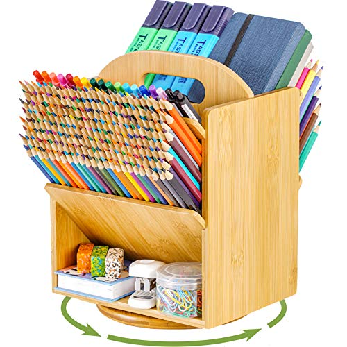 Marbrasse Bamboo Rotating Pen Organizer Large Capacity Pencil Holder Art Supply Organizer with 6 Compartments - Home Office Supplies Desktop Storage Caddy for Colored PencilPenMarker