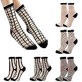 Bienvenu Womens Sheer Socks, Fishnet See Through Thin Ankle Socks, Nylon Mesh Transparent Socks for Women 5 Pairs, Black Grid Set