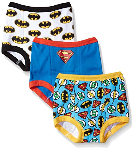 DC Comics Boys Toddler Superman, Batman and More Training Pants, Assorted Justice League, 3T, 3-PACK