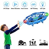XBUTY Flying Ball Toysfor Kids, 360° Rotating Quadcopter with LED Lights, Hand Operated Mini Drone Helicopter for Boys and Girls (Blue)