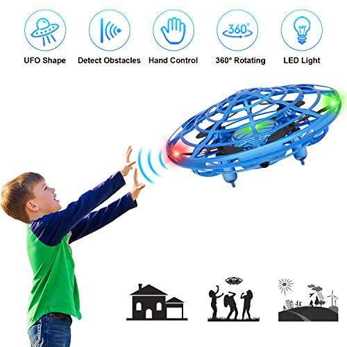 XBUTY Flying Ball Toys for Kids, 360° Rotating Quadcopter with LED Lights, Hand Operated Mini Drone Helicopter for Boys and Girls (Blue)