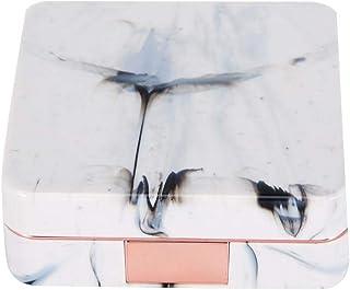 Bärbar marmorspegel fyrkantig blötläggande kontaktlinsfodral ÅTERANVÄNDNINGSFÖRPACKNING socialme-eu (roséguld)